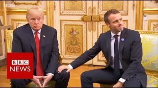 Macron defends his defence plans in Trump meeting - BBC News