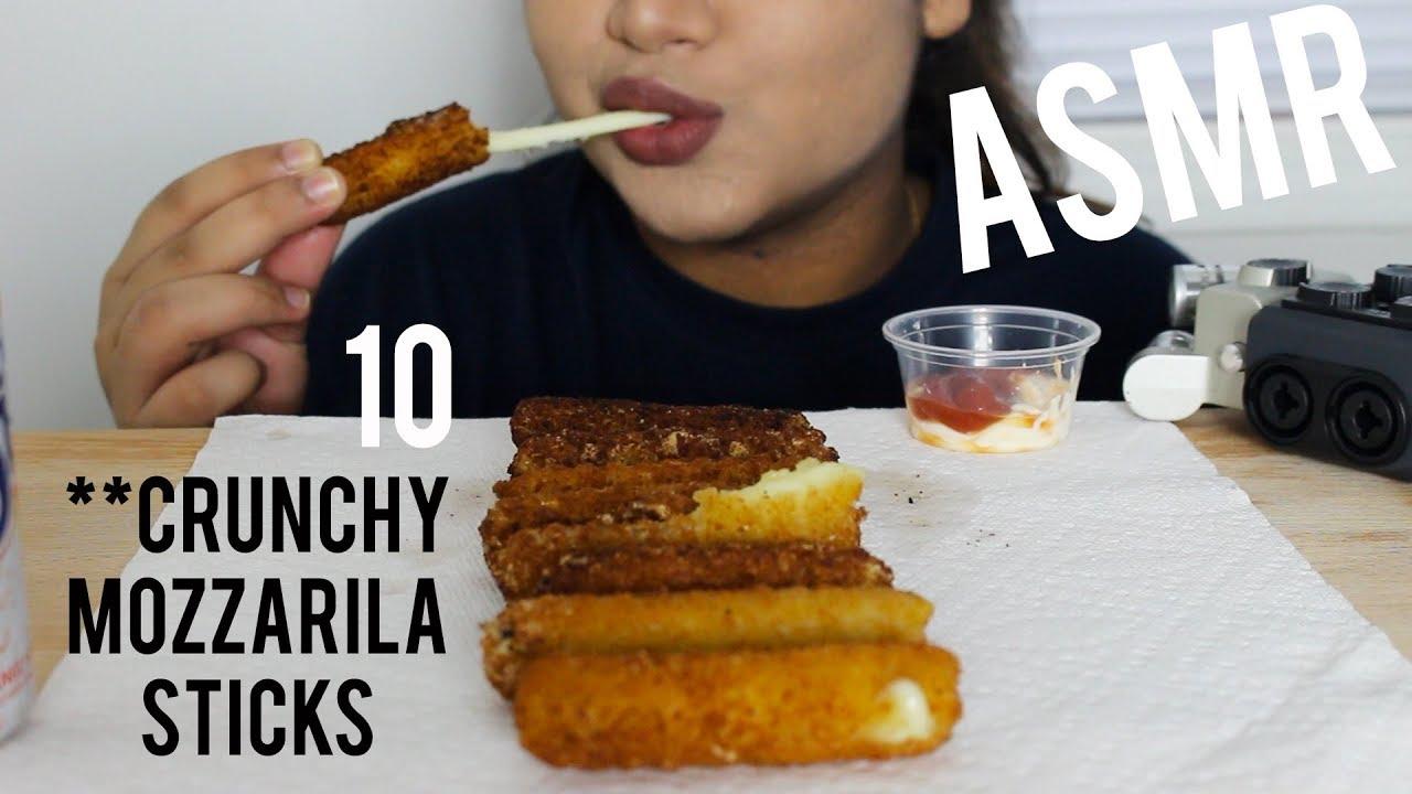 ASMR : 10 MOZZARELLA STICKS   WHISPER EATING   HUNGRY BITES ASMR