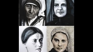 Saint Teresa, Saint Frances Cabrini, Saint Edith Stein, Saint Bernadette Portraits