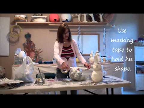 DIY Paper Mache Clay Snowman