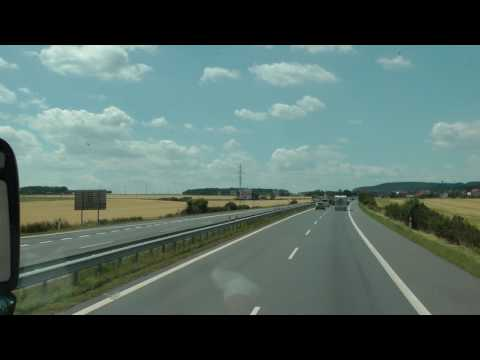 driver view Czech Hwy. 4 in the Czech Republic from Prague to Germany (1 of 5)