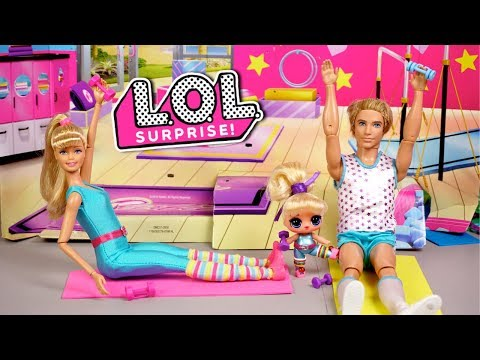 Barbie Doll LOL Family Gym Class Morning Routine