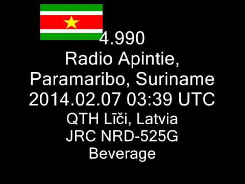 4.990 Radio Apintie, Paramaribo, Suriname 2014.02.07 03:39-03:44 UTC