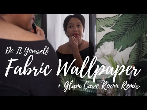 GLAM CAVE MAKE OVER + TEMPORARY FABRIC WALLPAPER DIY // Room Remix