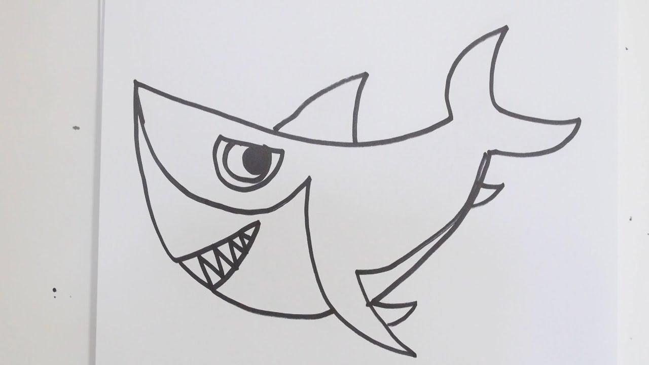 How to draw cartoon shark - YouTube
