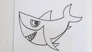 cartoon shark drawing draw drawings paintingvalley