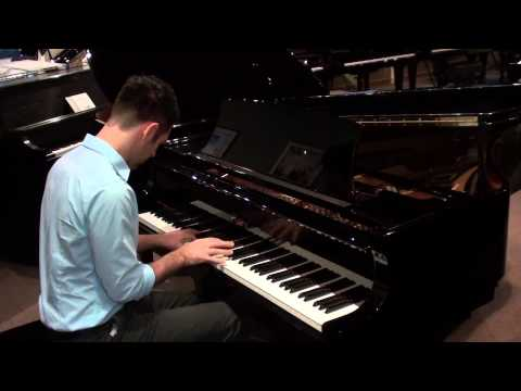 Jonathan Anderson demonstrating a Boston grand piano October 2014