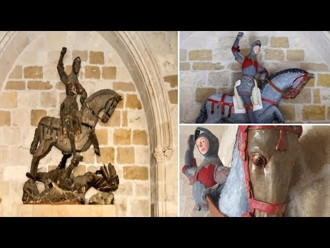 500 year old statue of St George BOTCHED Restoration job in Spain