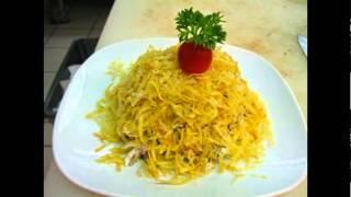 Холодные закуски мясные:Салат мясной с китайской капустой и картофельной стружкой