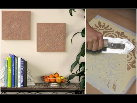 how to stencil diy terracotta wall art tiles with raised embossed designs annie sloan chalk paint - Terracotta Wall Paint