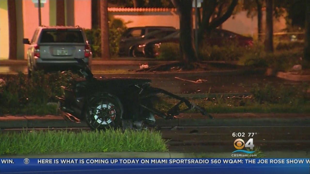 Lamborghini Split In Half In Fiery North Miami Beach Crash Youtube
