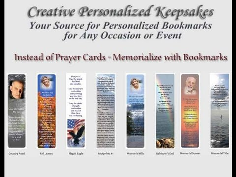 Memorial bookmarks or prayer cards youtube for Funeral bookmarks template free