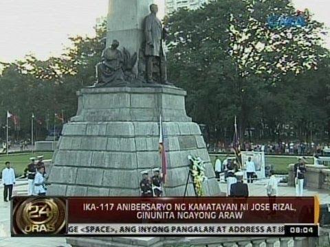24 Oras: Ika-117 anibersaryo ng kamatayan ni Jose Rizal, ginunita ngayong araw