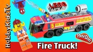 LEGO Airport Fire Truck Build! Emmet Rescues Chug! PLAY-DOH Fire, Dusty Lands [Box Open] Fun!