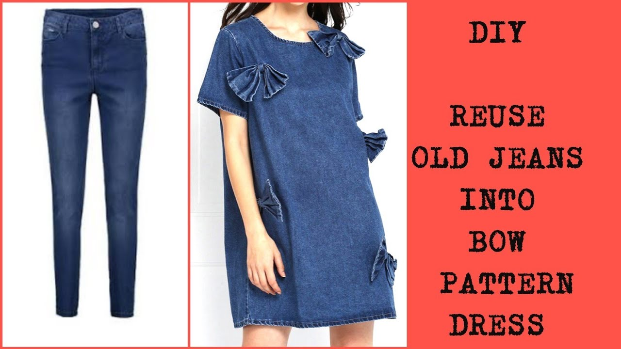 DIY : Recycle old Jeans Into Dress Reuse old clothes - YouTube
