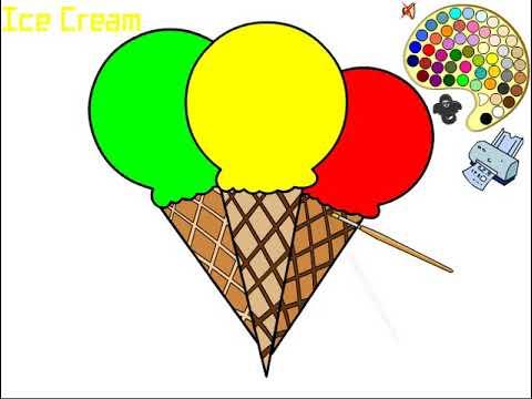 Belajar Mewarnai Gambar Ice Cream Untuk Anak Ice Cream Coloring