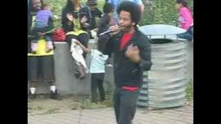 Boots Riley performing 5 Million Ways To Kill A CEO at Lakeview Elementary School rally on July 18