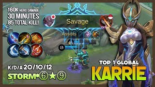 Epic Match 30 Minutes with Perfect Savage Karrie by sтoʀм•⓺★⓽ Top 1 Global Karrie ~ Mobile Legends