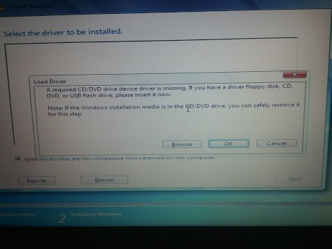 Windows 7 CD DVD driver missing ERROR BUG FIX installing from DVD or ...