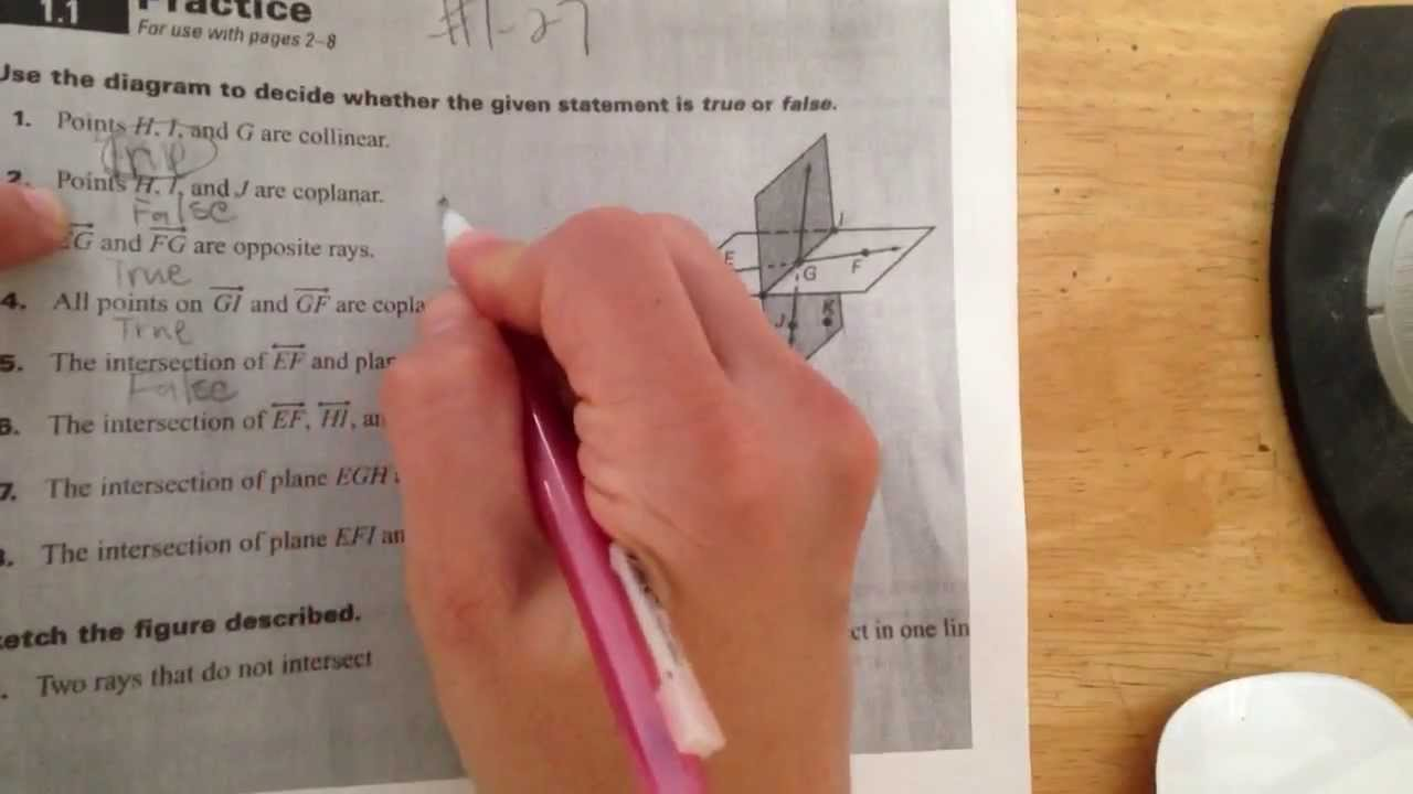 Points Lines And Planes Worksheet Part 1