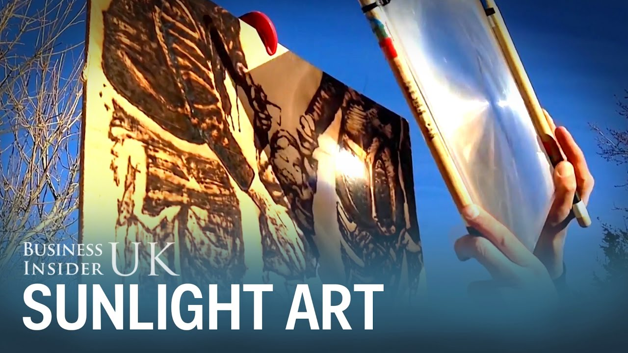 An Artist Uses Sunlight And A Magnifying Glass To Burn Drawings - Artist creates art power sunlight magnifying glass