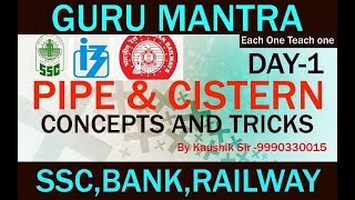 PIPE & CISTERN ,SSC, BANK, RAILWAY, and any other Competition exam. (सीखें आसान तरीक़े से)