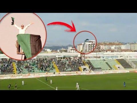 ¡Le prohíben entrar al estadio y alquila una grúa para ver a su equipo!