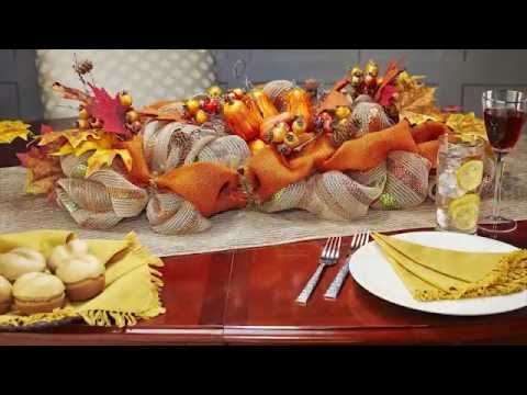 How To Make A Burlap Mesh Fall Centerpiece Table Decoration   YouTube