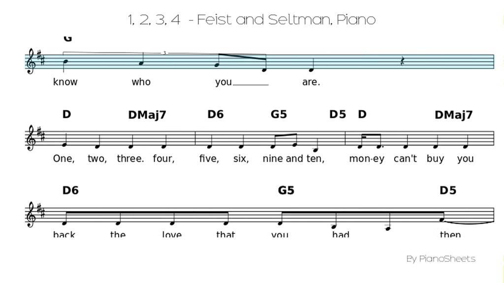 1 2 3 4 Feist And Seltman Piano Solo Youtube