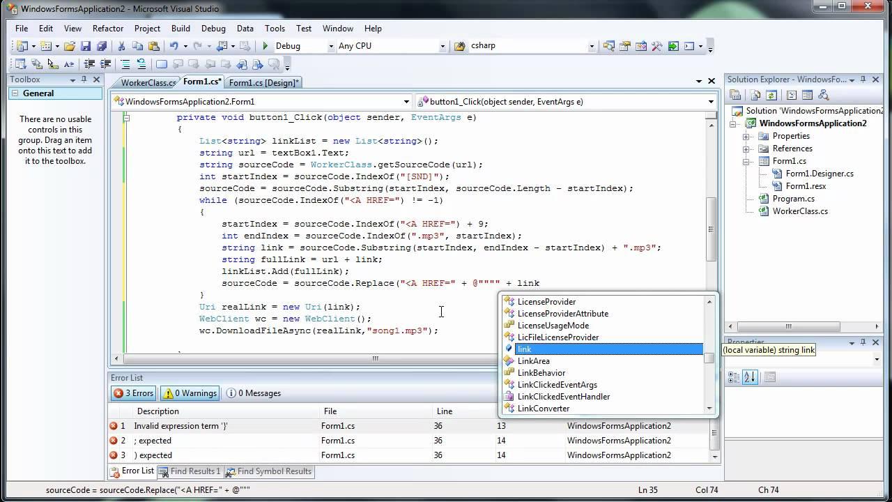 Creating a Web Scraper Part 2 - C# C Sharp Visual Studio 2008