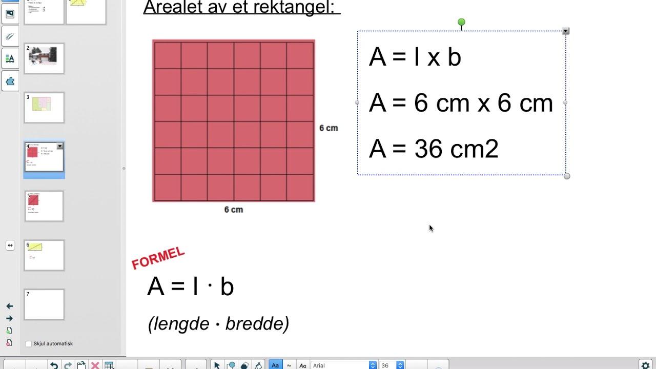 Areal av rektangel og trekant - 5.klasse