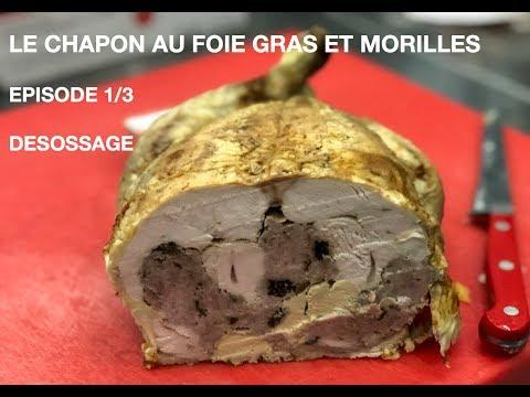 chapon-farci-au-foie-gras-et-morilles-/-présentation-et-désossage