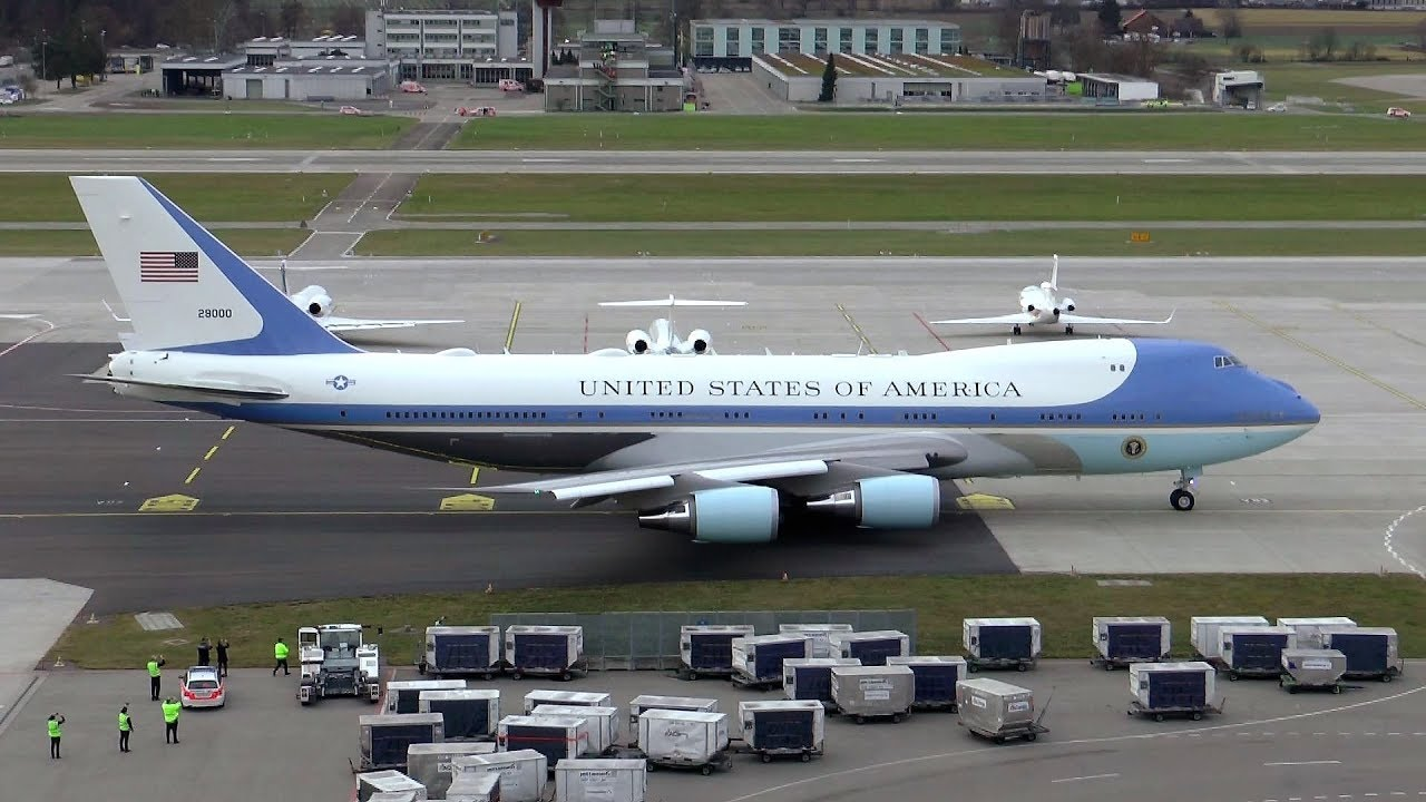 U.S. Air Force Boeing VC 25 departure at Zurich Airport Air Force One