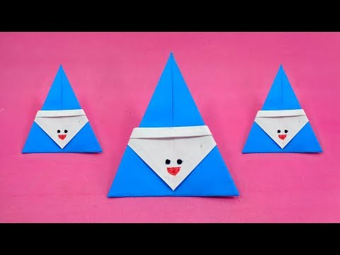 How To Make Santa Claus With Paper Easily   Origami Christmas Craft Ideas for Kids