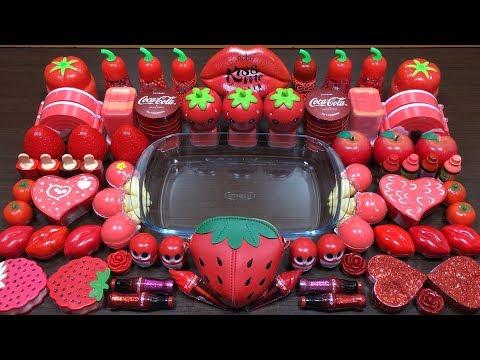 Red Coca Cola Slime   Mixing Random Things into Slime   Satisfying Slime Videos #130