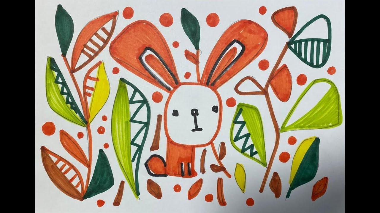 Как нарисовать ЗАЙЧИКА в лесу . Раскраска для детей - YouTube