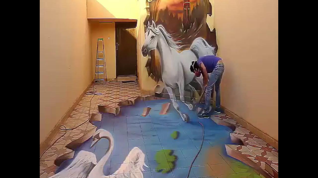 Spray Painting A Horse On Wall Amazing U0026 Beautiful Art