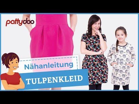 Sweatkleid mit Taschen und Kellerfalten-Tulpenrock nähen – Schnittmuster für Frauen und Kinder