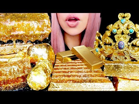 ASMR Edible Gold Crown, Honeycomb, Chocolate Bars | Eating Sounds