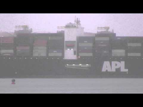 Very Large Container Ship APL VANDA inbound into Rotterdam, NL in the Mist (June 23, 2015)
