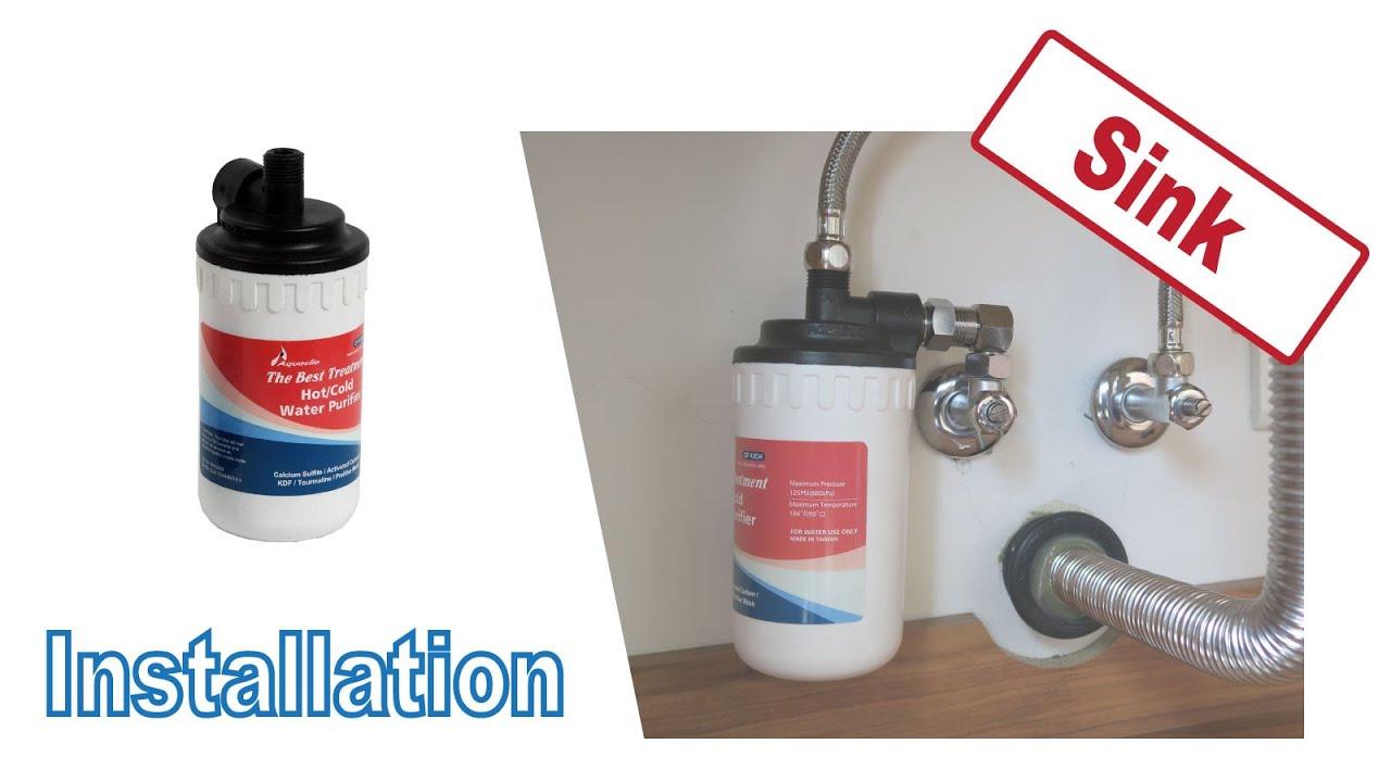 installing cf 12ch hot water filter under sink washstand kitchen counter aquaclio water system