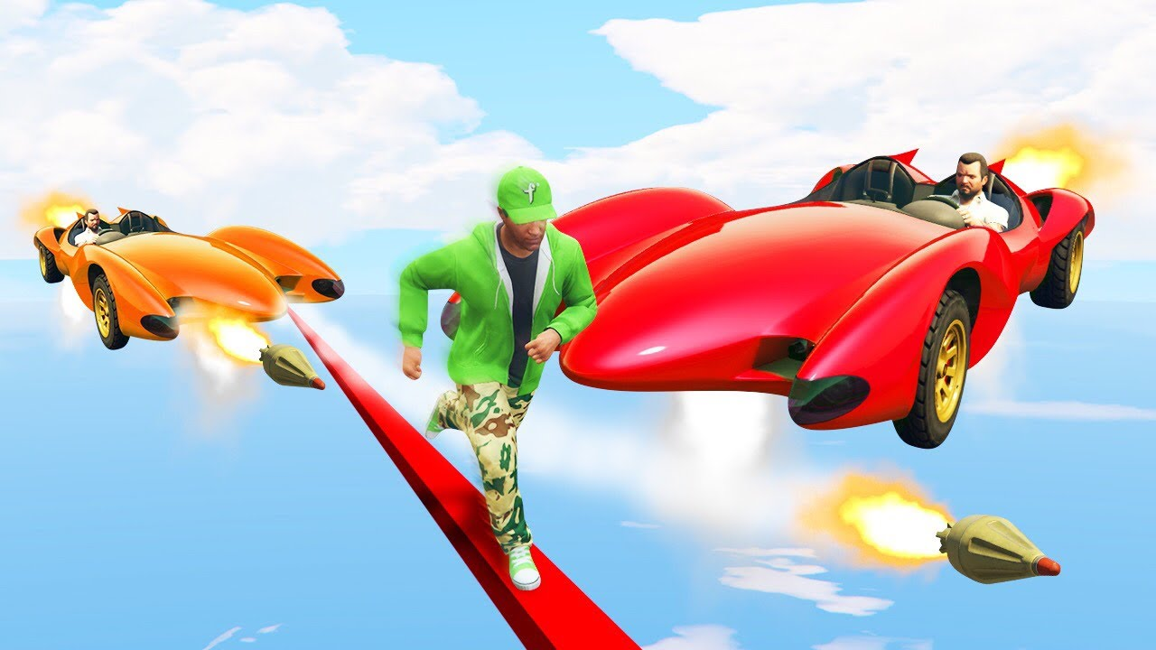 EXTREME RUNNERS vs FLYING ROCKET CARS GTA 5 Funny