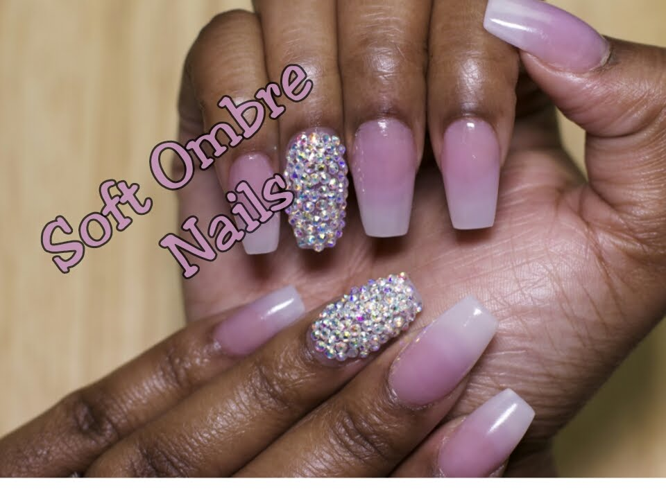 Soft Pink and White Ombre Nails with Bling - YouTube