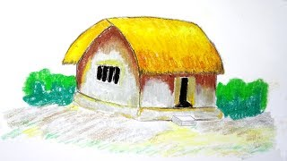 How to draw a Village House  Hut step by step  very easy Drawing