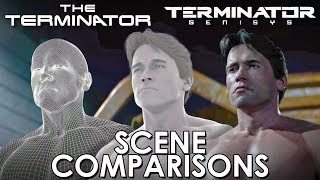 The Terminator (1984) and Terminator: Genisys (2015) - scene comparisons
