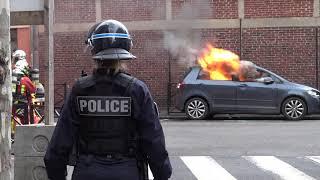 Blocus de lycées : incidents et véhicules en feu ( 6 décembre 2018, Clichy, Paris)