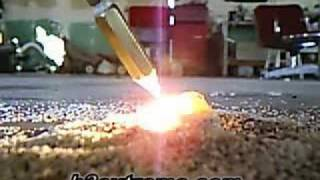 hho torch making glass from sand by h2extreme.com
