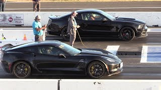 Zo6 Corvette vs Mustang Roush Stage 3 - drag race
