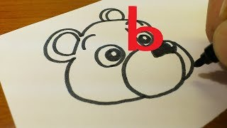 "How to turn Letter ""b"" into a Cartoon BEAR for kids - Alphabet doodle drawing step by step"