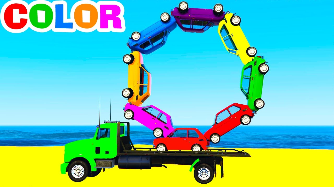 Learn Colors And Learn Numbers W Truck Cars Cartoon For Kids And Spiderman Learning Video